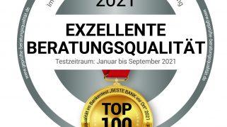 """BESTE BANK vor Ort 2021: Die """"Top 100"""" stehen fest! – Umfangreicher Bankentest kürt die BESTEN BANKEN im Jahr 2021"""
